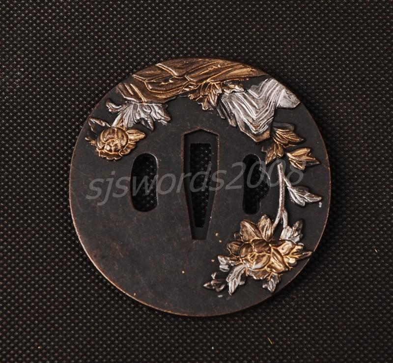 Alloy Tsuba Guard Tsuba Flower Carved For Japanese Sword