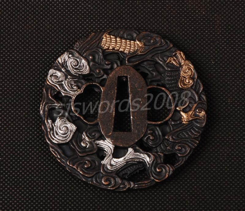 Guard Tsuba Alloy For Japanese Sword Katana Wakizashi Animals Carved