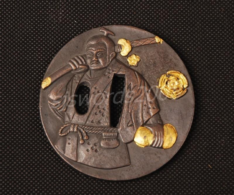 Worrior Carved Tsuba Guard Alloy For Japanese Sword Katana Wakizashi