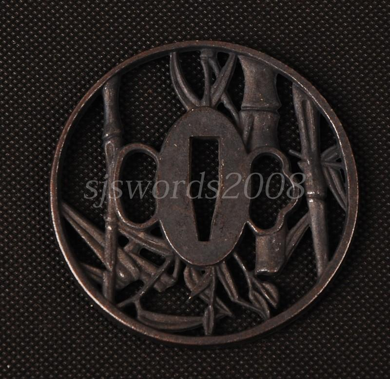 Alloy Tsuba Guard For Japanese Sword Bamboo Carved Nice Design