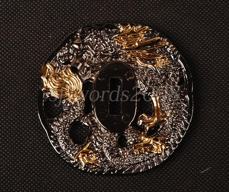 Dragon Carved Plate Guard Tsuba For Japanese Sword Samurai Katana Wakizashi