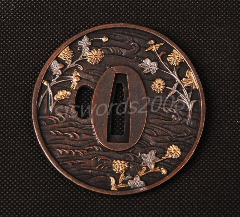 Japanese Sword Tsuba Alloy Spot Guard Plum Blossom Carved