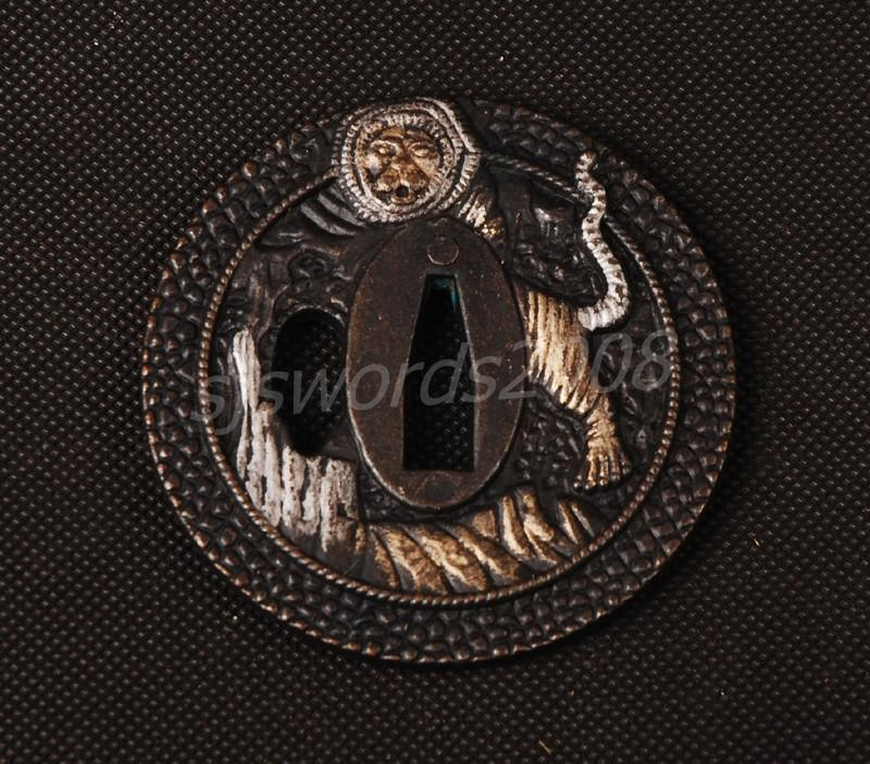 Lion Carved Tsuba Guard For Japanese Sword Katana Wakizashi