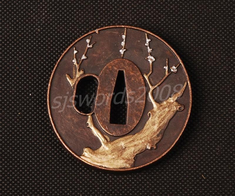 Plum Blossom Tree Carved Tsuba Guard Alloy For Japanese Sword