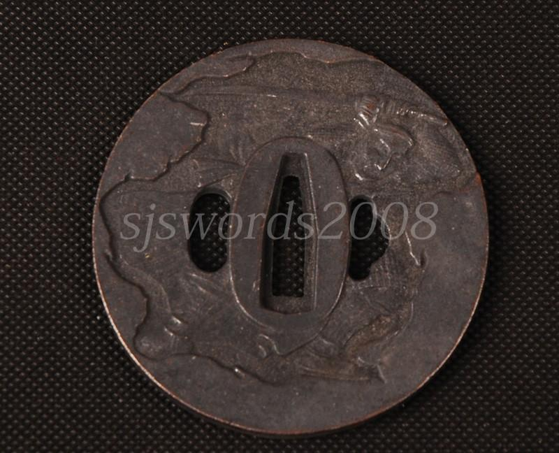 Worrior Hold A Sword Writings Carved Tsuba Alloy For Japanese Sword Guard