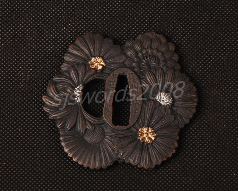 Flower Design Tsuba For Japanese Samurai Sword Katana Wakizashi