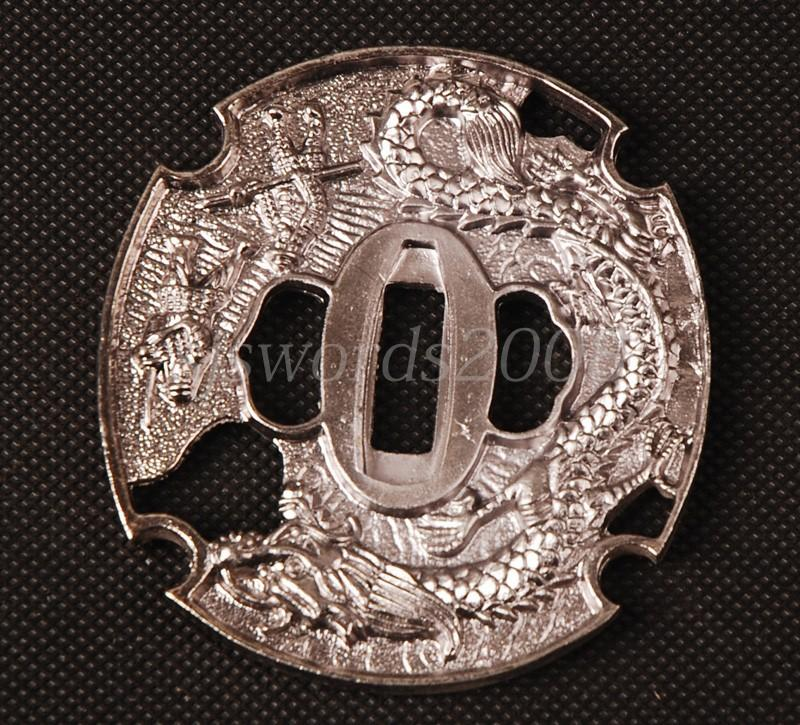 Silver Color Dragon Carved Tsuba Alloy Guard For Japanese Sword Katana