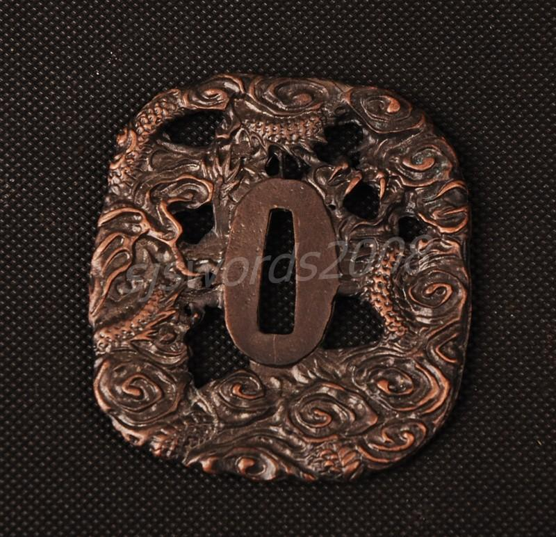 Dragon Carved Tsuba Guard For Japanese Sword Katana Wakizashi