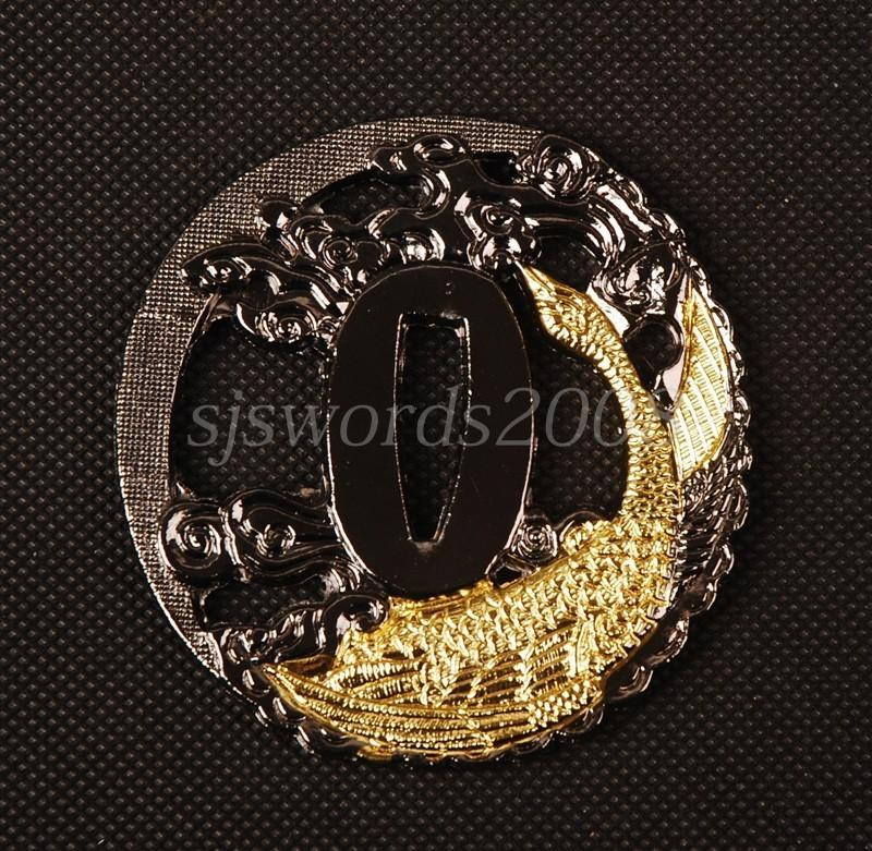 Gold Fish Arved Tsuba For Japanese Samurai Sword Katana Alloy Plate