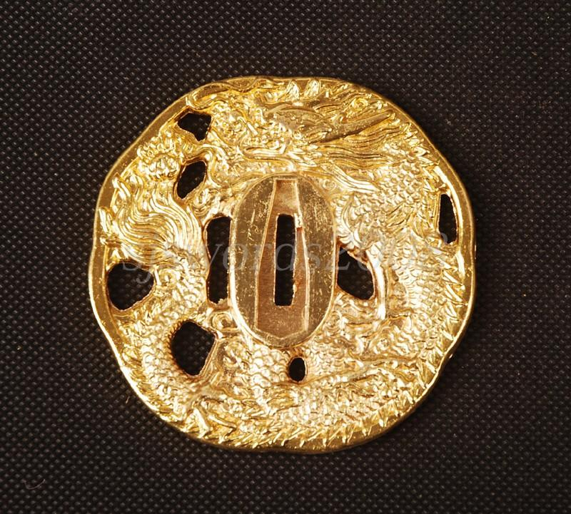 Golden Tsuba Dragon Carved Alloy Plate For Japanese Samurai Sword