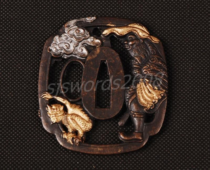 Japanese Samurai Sword Katana Wakizashi Tsuba Alloy Animal Cloud Carved